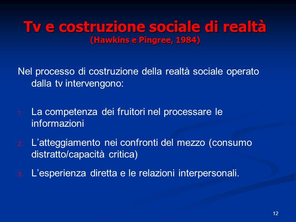 Tv e costruzione sociale di realtà (Hawkins e Pingree, 1984)