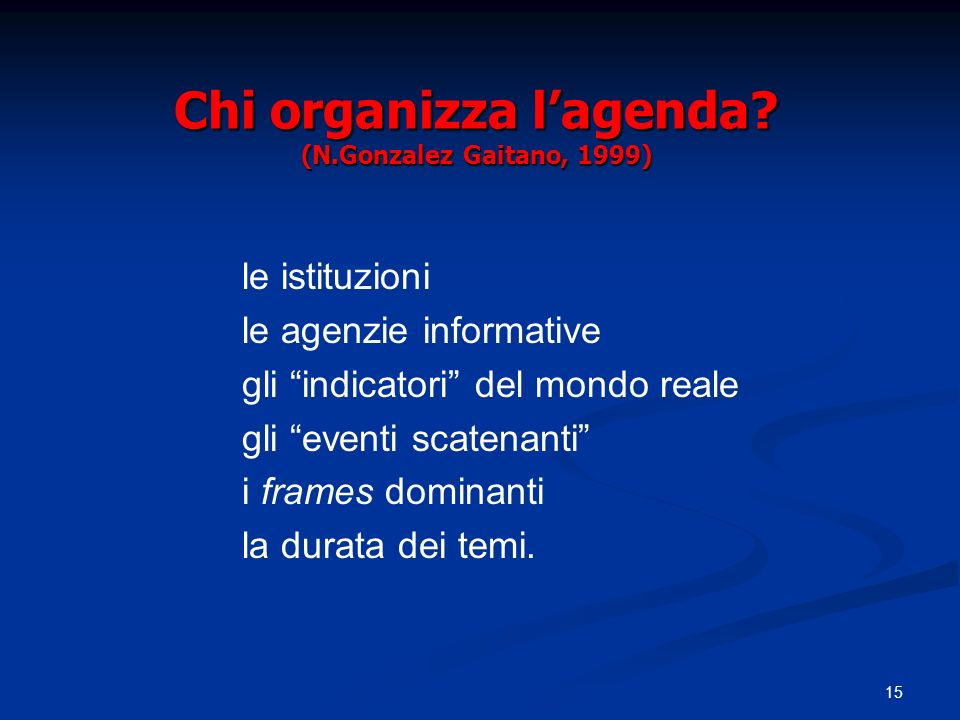 Chi organizza l'agenda (N.Gonzalez Gaitano, 1999)