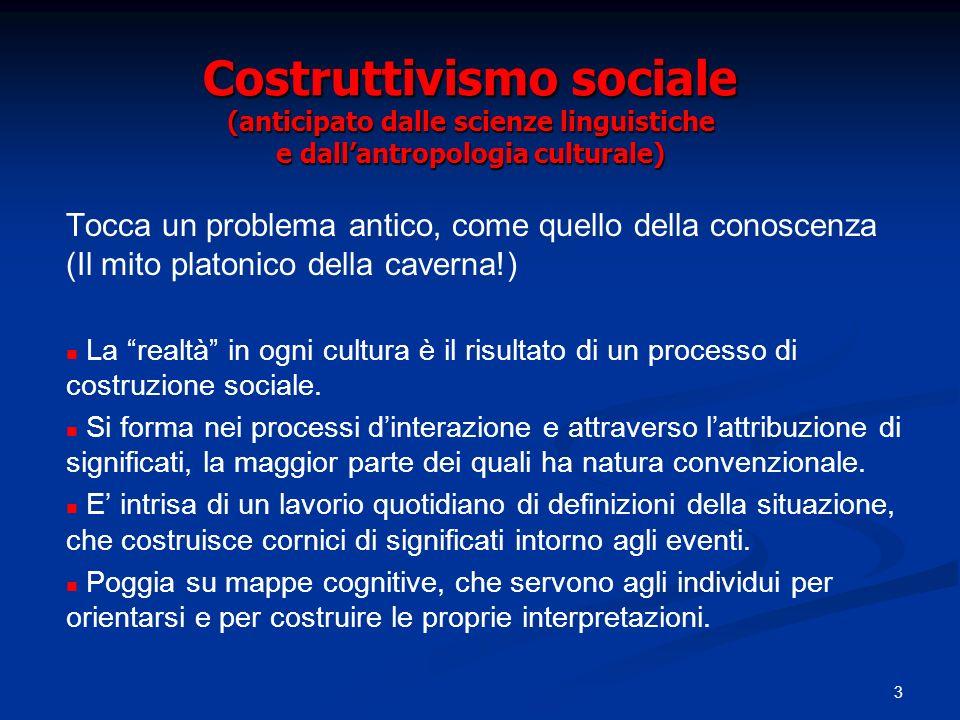 Costruttivismo sociale (anticipato dalle scienze linguistiche e dall'antropologia culturale)
