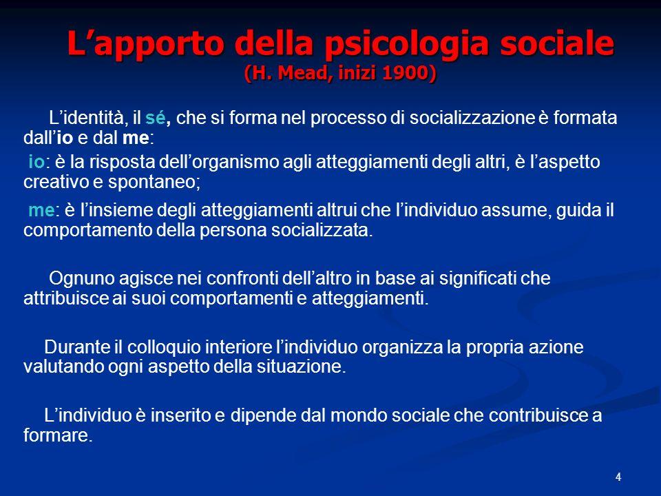 L'apporto della psicologia sociale (H. Mead, inizi 1900)