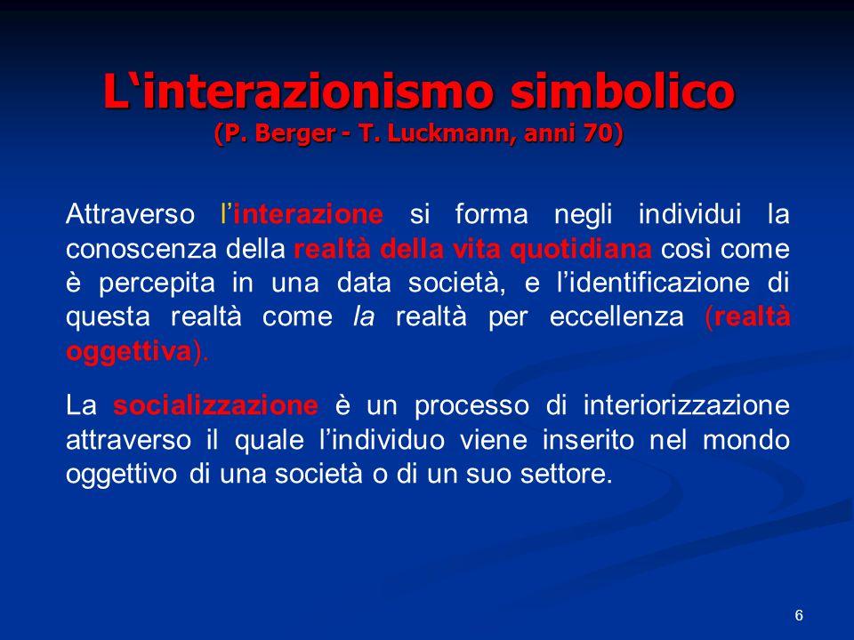 L'interazionismo simbolico (P. Berger - T. Luckmann, anni 70)