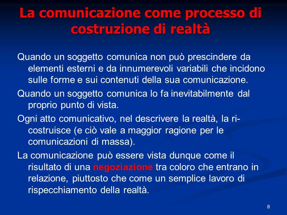 La comunicazione come processo di costruzione di realtà