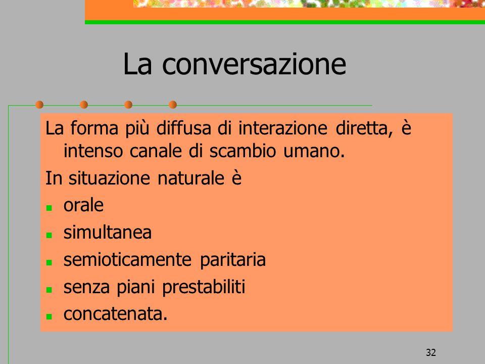 La conversazione La forma più diffusa di interazione diretta, è intenso canale di scambio umano. In situazione naturale è.