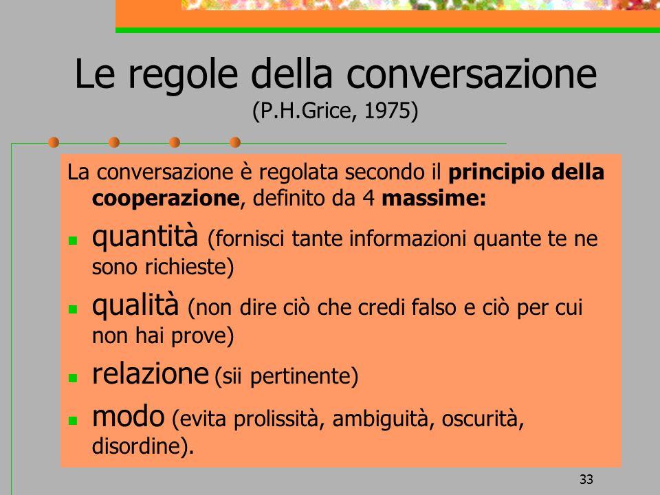 Le regole della conversazione (P.H.Grice, 1975)