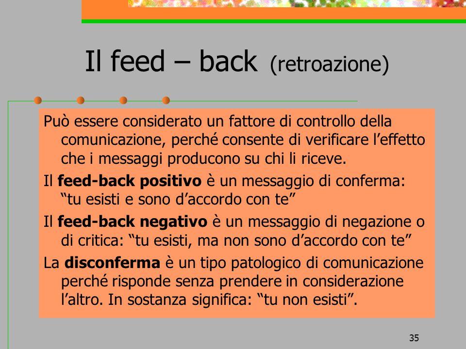 Il feed – back (retroazione)