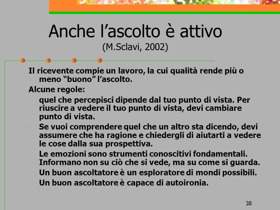 Anche l'ascolto è attivo (M.Sclavi, 2002)