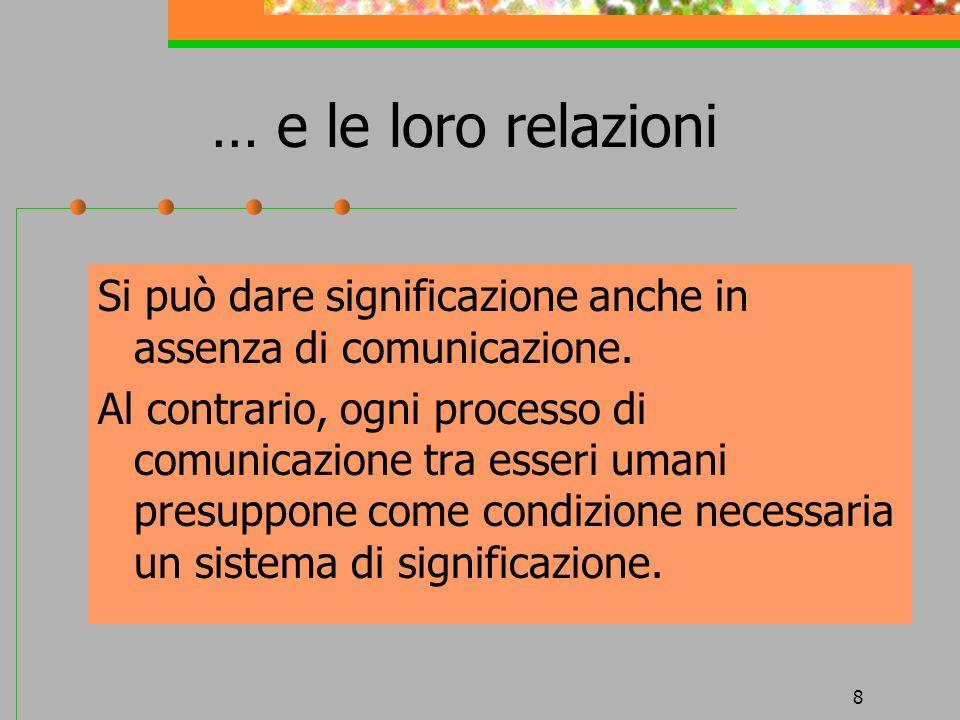 … e le loro relazioniSi può dare significazione anche in assenza di comunicazione.