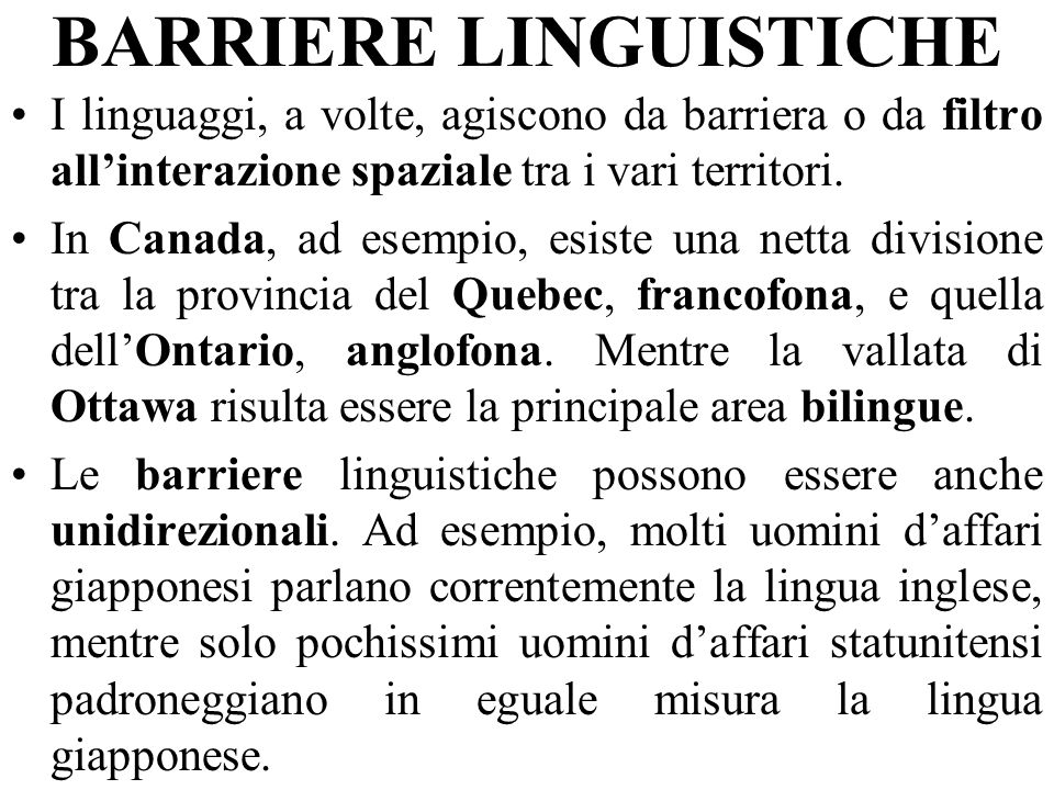 BARRIERE LINGUISTICHE