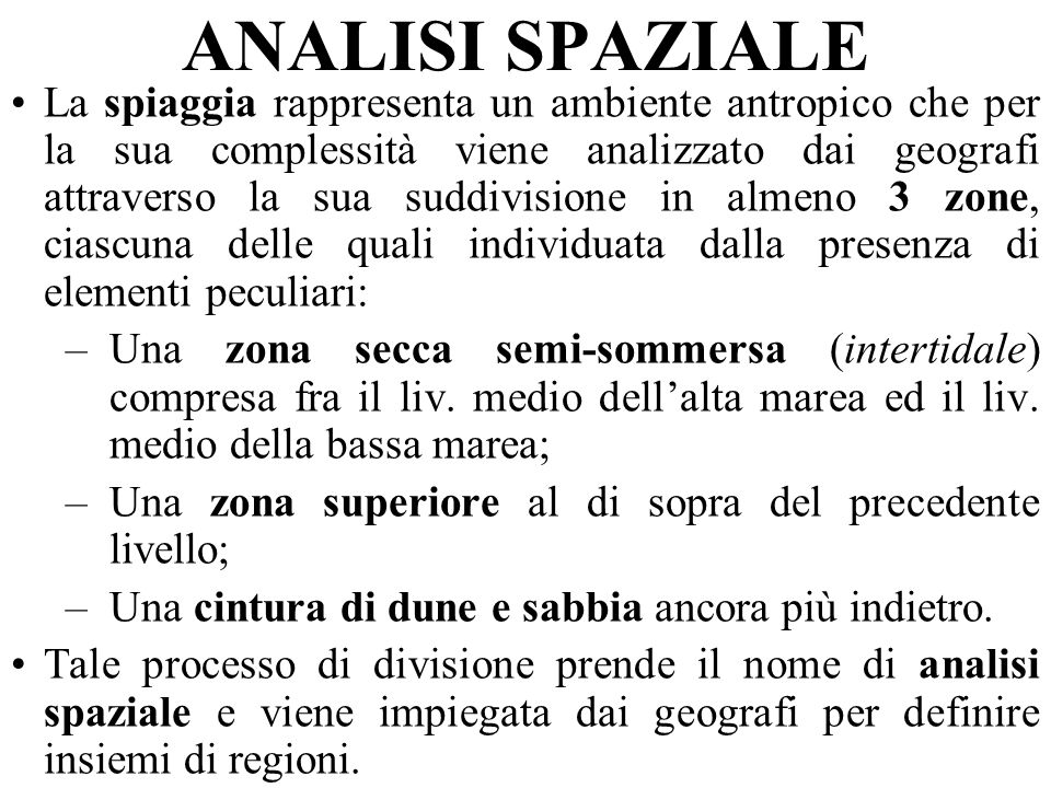 ANALISI SPAZIALE