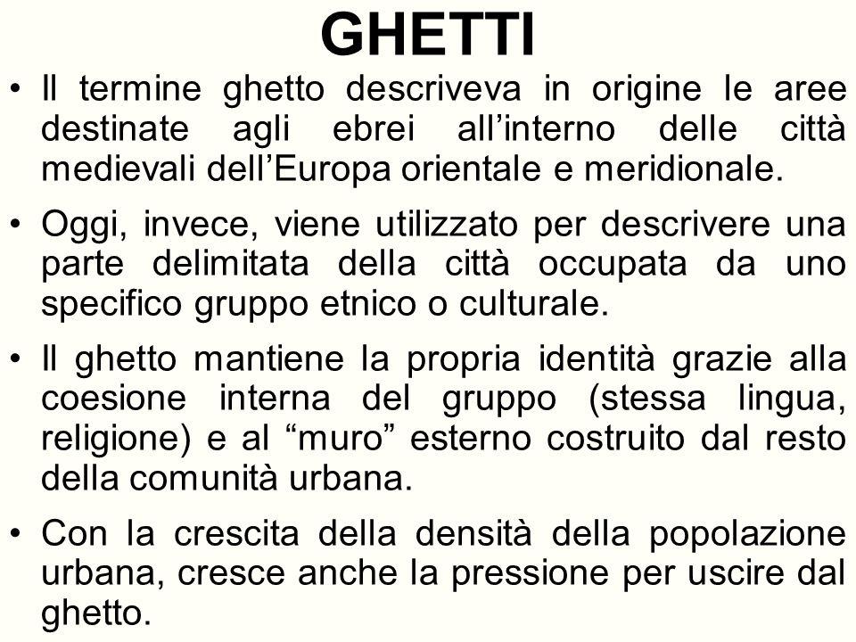 GHETTI Il termine ghetto descriveva in origine le aree destinate agli ebrei all'interno delle città medievali dell'Europa orientale e meridionale.