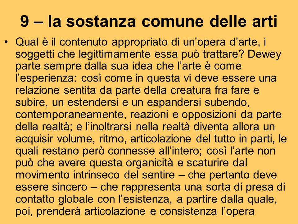 9 – la sostanza comune delle arti