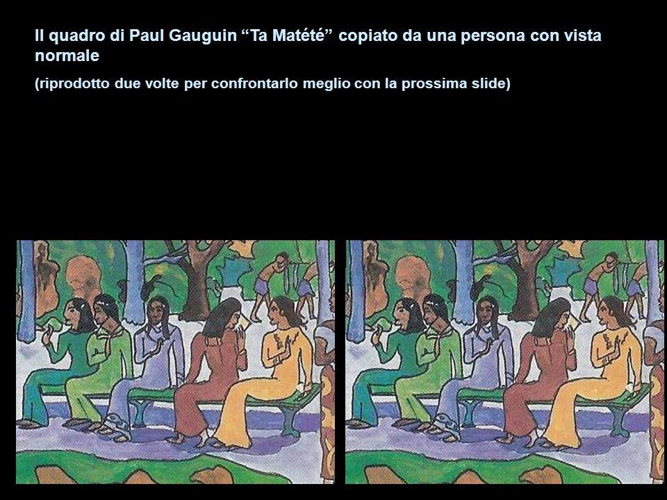 Il quadro di Paul Gauguin Ta Matété copiato da una persona con vista normale