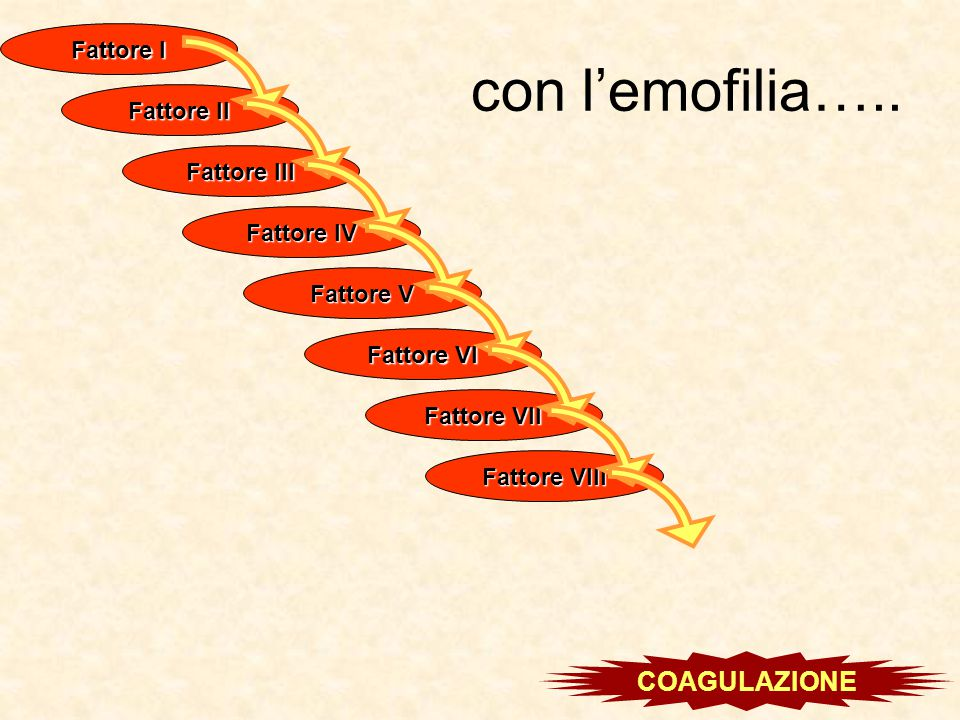 con l'emofilia….. COAGULAZIONE Fattore I Fattore II Fattore III