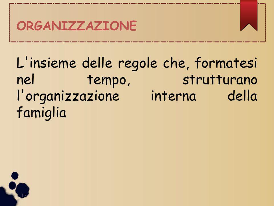 ORGANIZZAZIONE L insieme delle regole che, formatesi nel tempo, strutturano l organizzazione interna della famiglia.