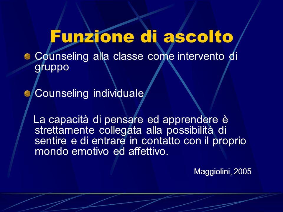 Funzione di ascolto Counseling alla classe come intervento di gruppo