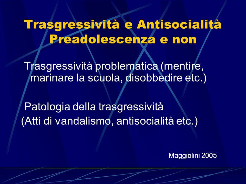 Trasgressività e Antisocialità Preadolescenza e non