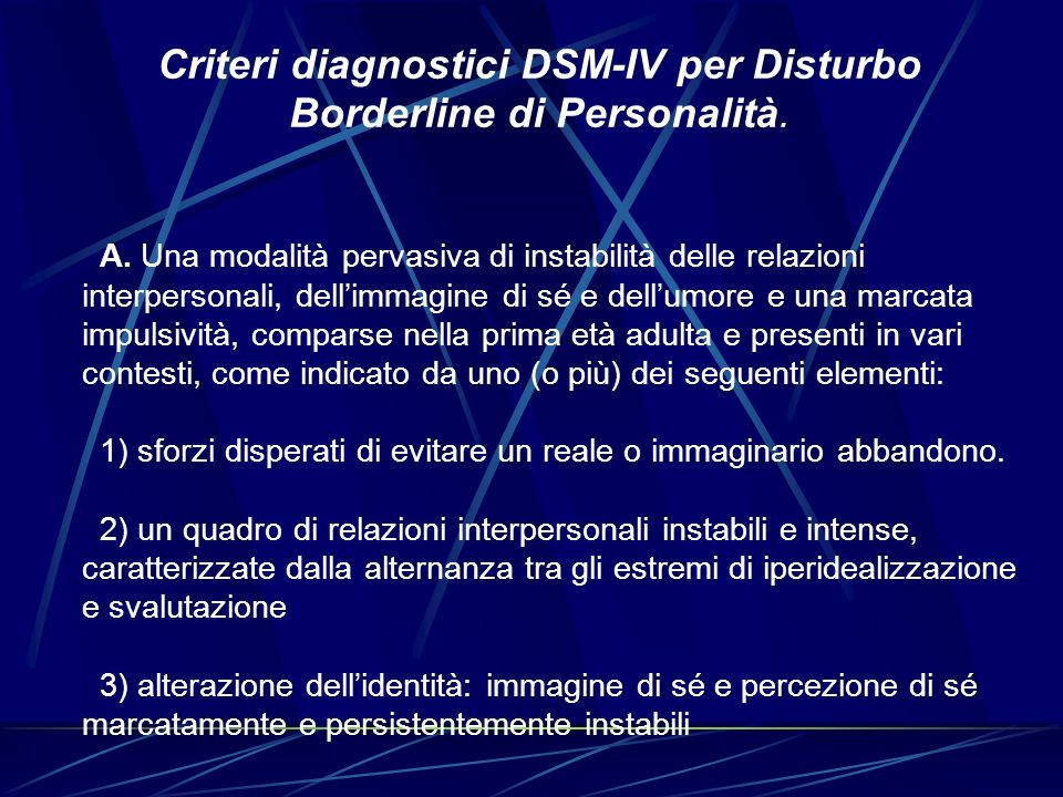 Criteri diagnostici DSM-IV per Disturbo Borderline di Personalità.