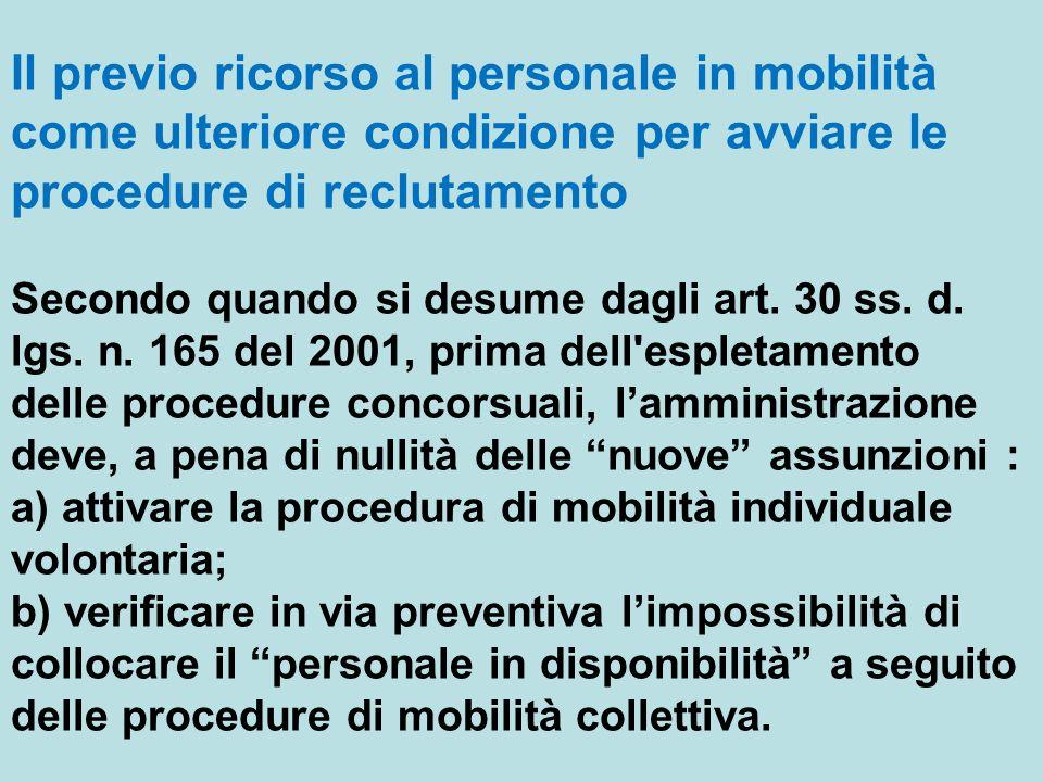 Il previo ricorso al personale in mobilità come ulteriore condizione per avviare le procedure di reclutamento Secondo quando si desume dagli art.