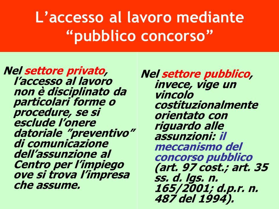 L'accesso al lavoro mediante pubblico concorso