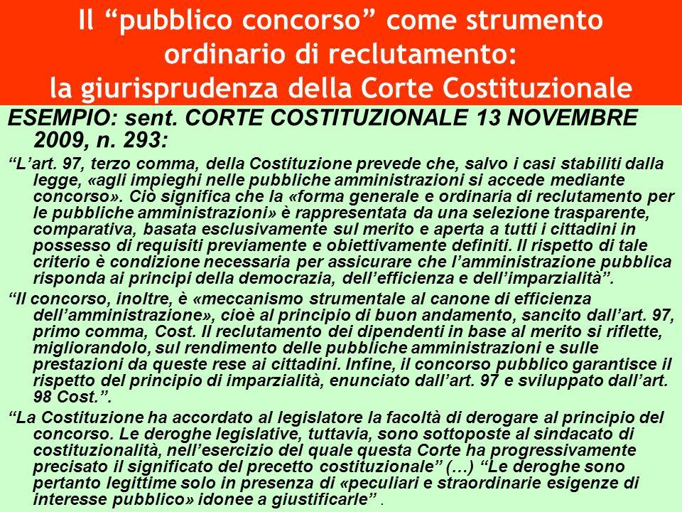 Il pubblico concorso come strumento ordinario di reclutamento: la giurisprudenza della Corte Costituzionale