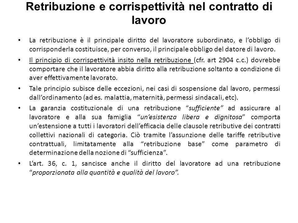 Retribuzione e corrispettività nel contratto di lavoro