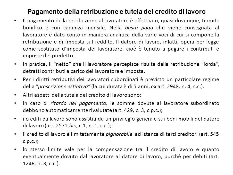 Pagamento della retribuzione e tutela del credito di lavoro