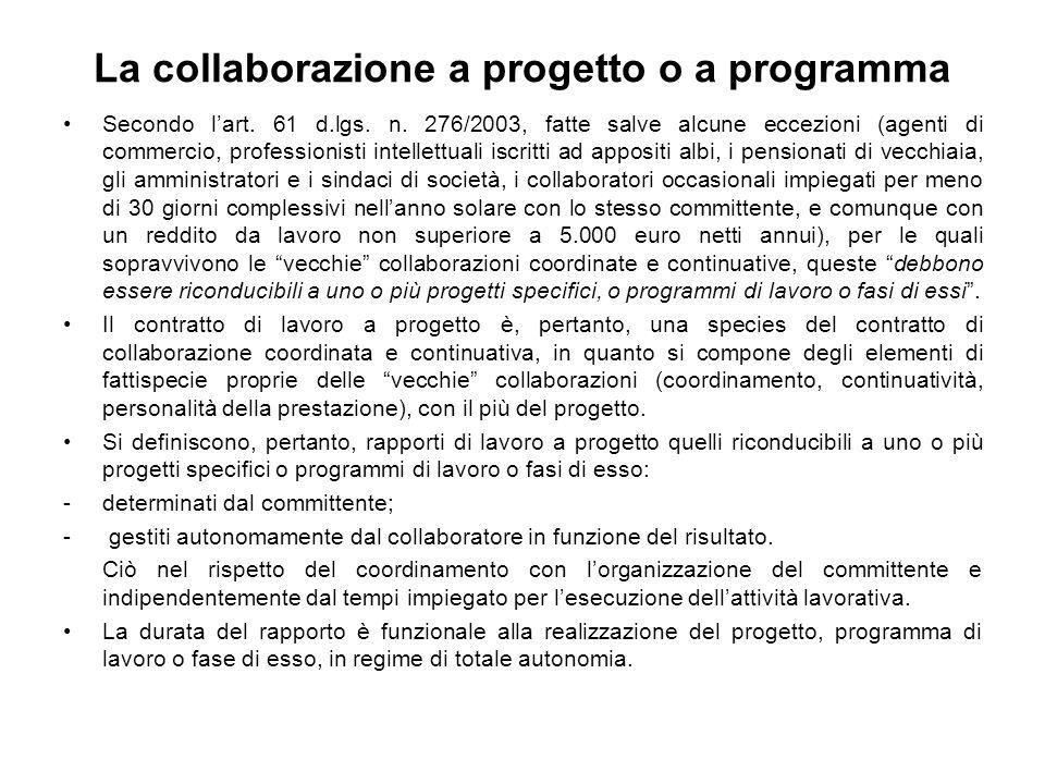 La collaborazione a progetto o a programma