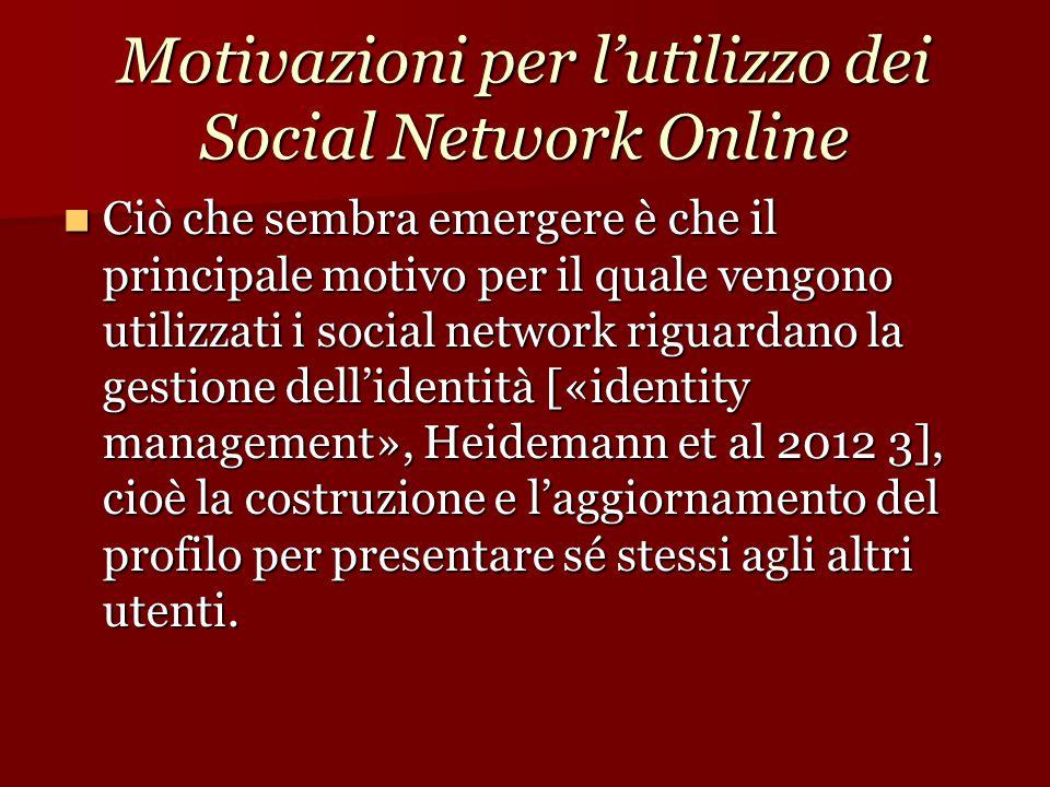 Motivazioni per l'utilizzo dei Social Network Online