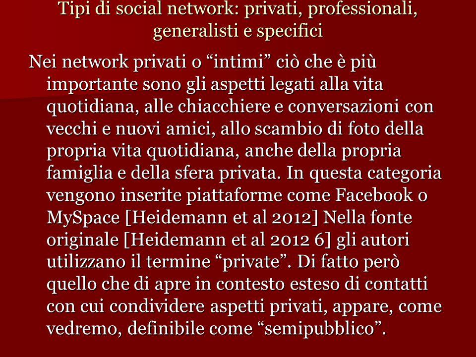 Tipi di social network: privati, professionali, generalisti e specifici