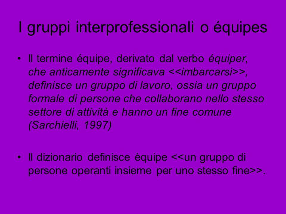 I gruppi interprofessionali o équipes
