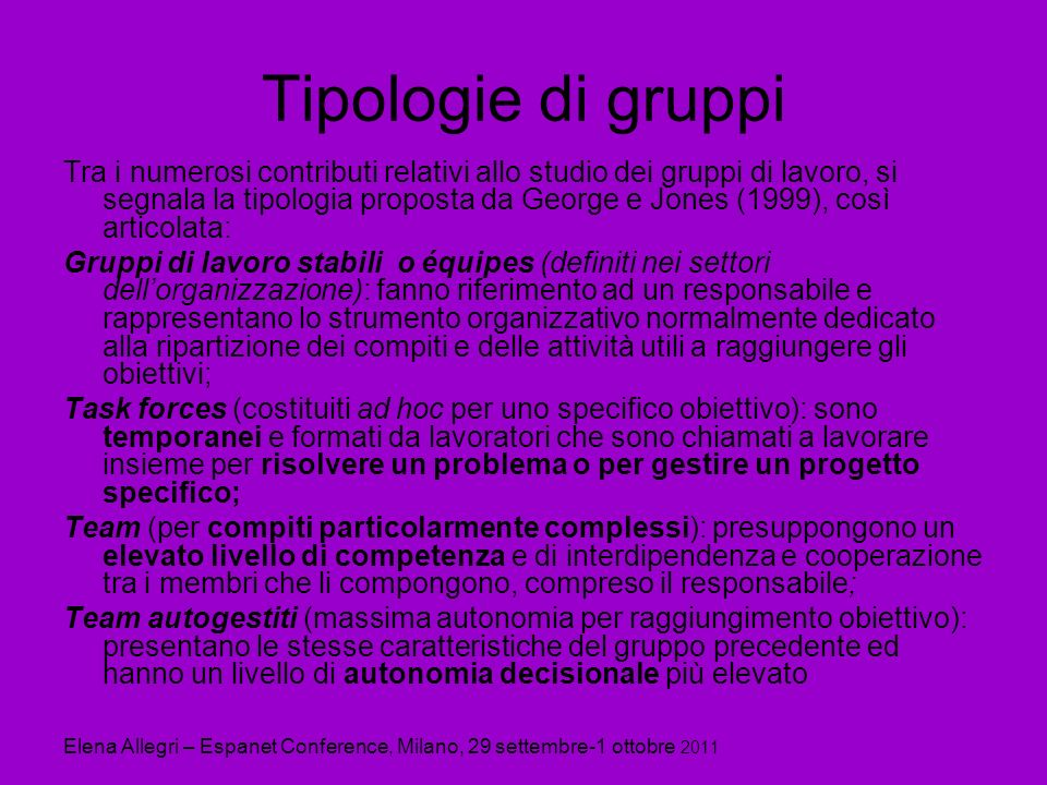 Tipologie di gruppi