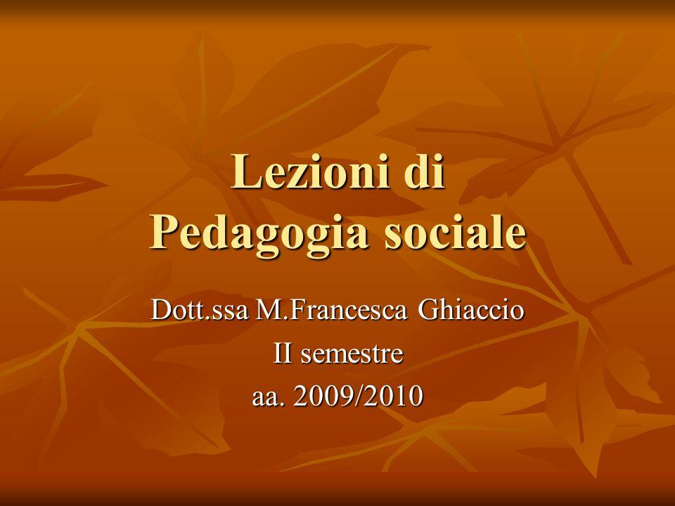 Lezioni di Pedagogia sociale