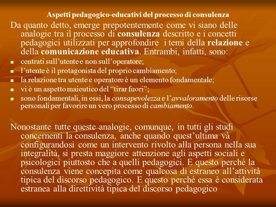 Aspetti pedagogico-educativi del processo di consulenza