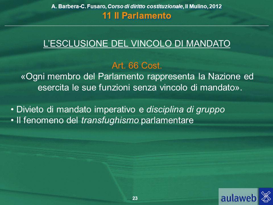 L'ESCLUSIONE DEL VINCOLO DI MANDATO