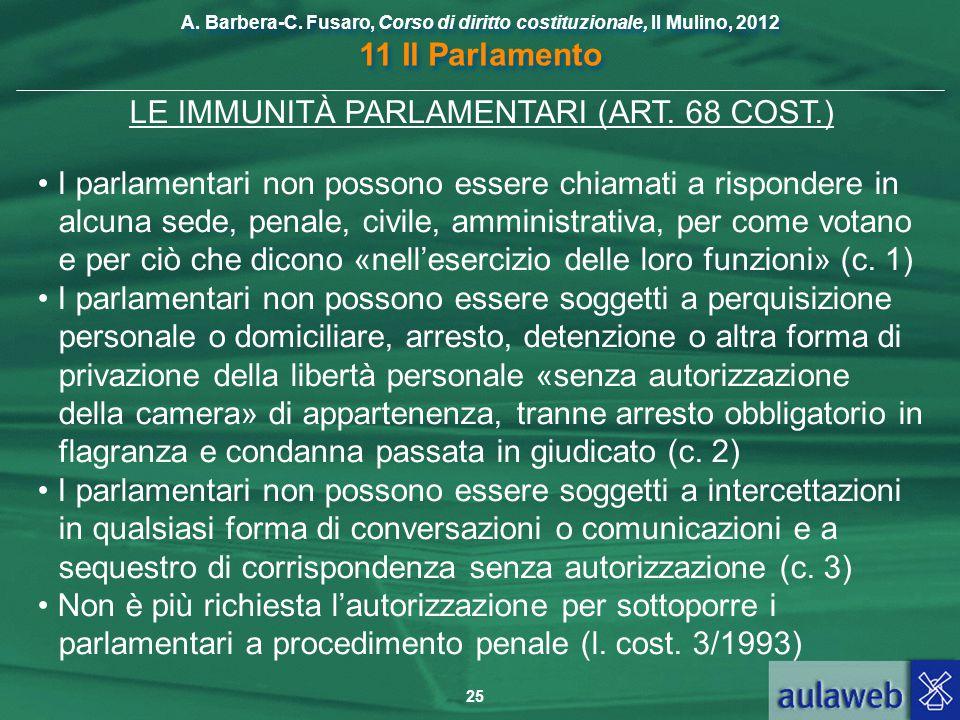 LE IMMUNITÀ PARLAMENTARI (ART. 68 COST.)