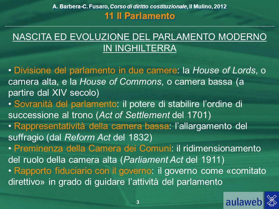 NASCITA ED EVOLUZIONE DEL PARLAMENTO MODERNO IN INGHILTERRA