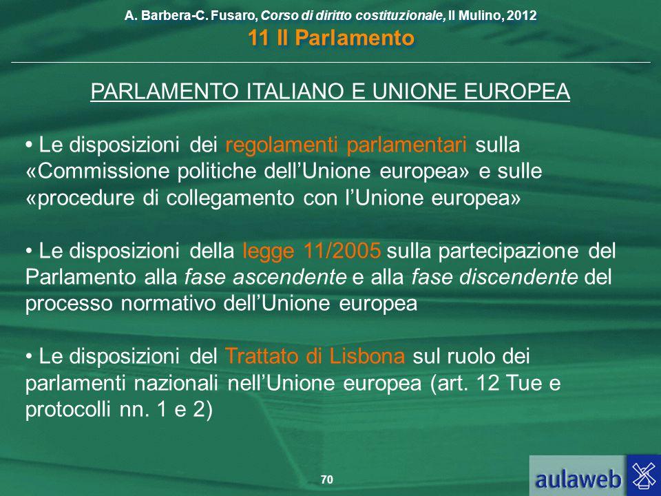 PARLAMENTO ITALIANO E UNIONE EUROPEA