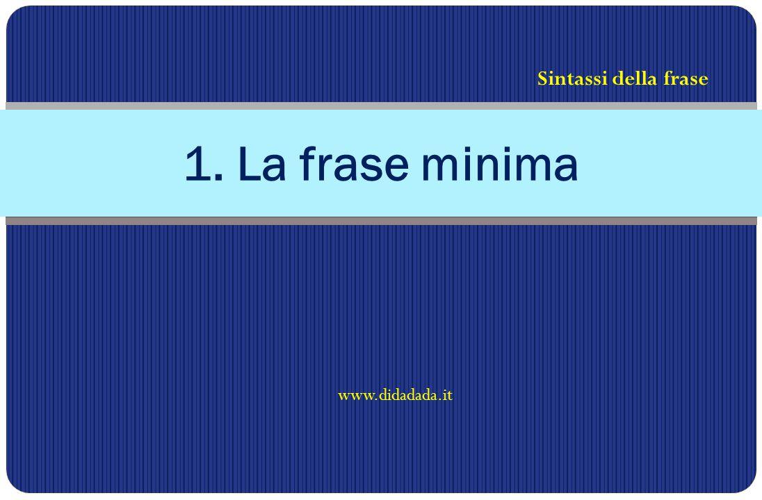 Sintassi della frase 1. La frase minima www.didadada.it