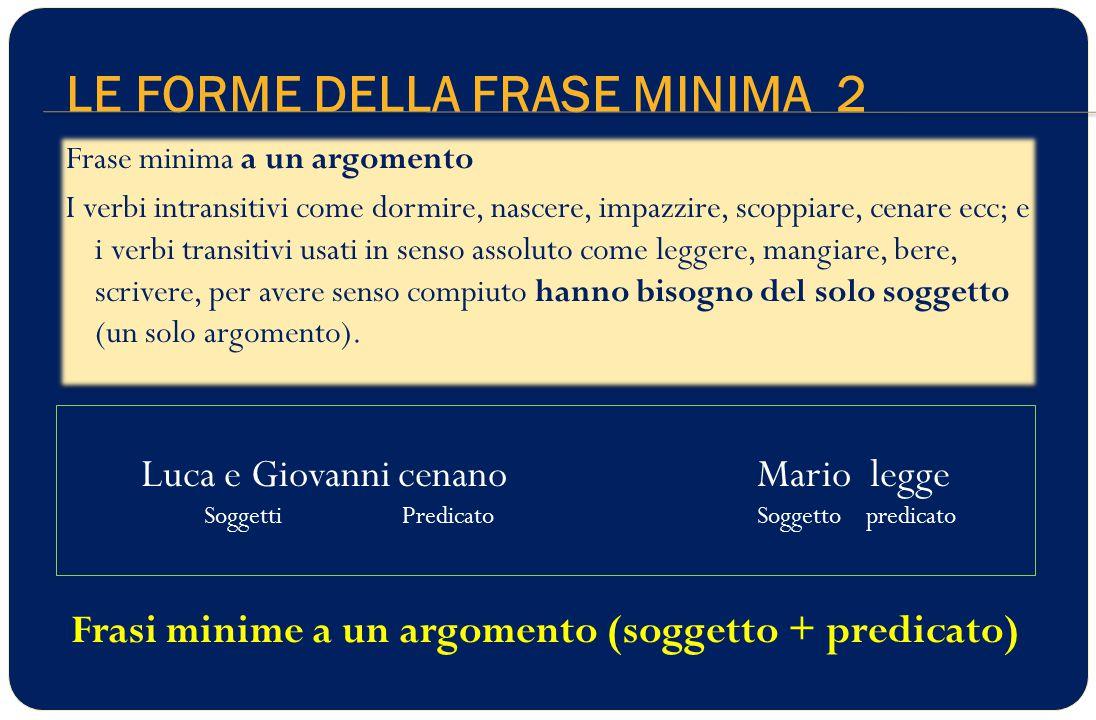 LE FORME DELLA FRASE MINIMA 2