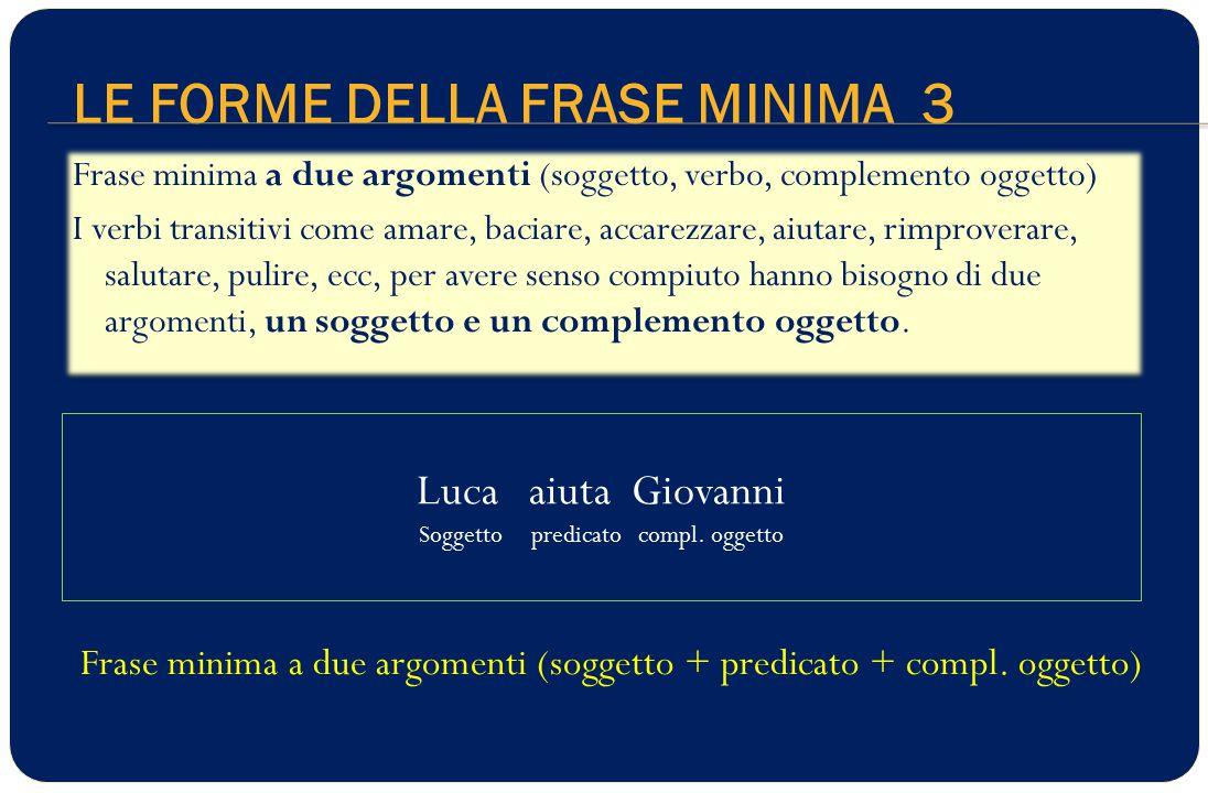 LE FORME DELLA FRASE MINIMA 3