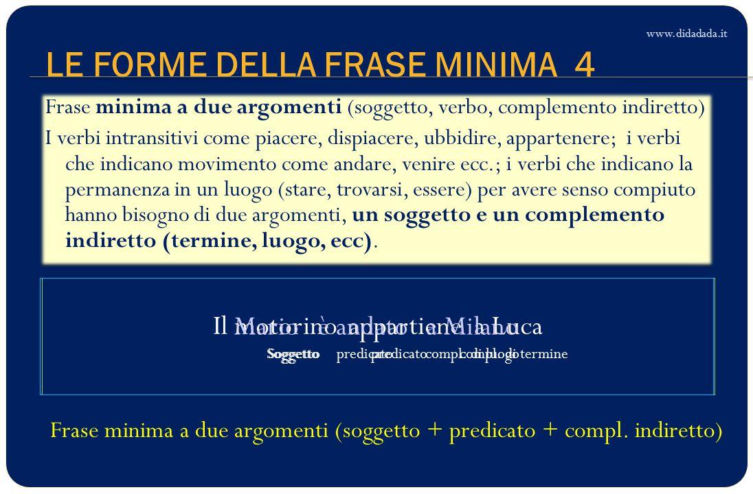 LE FORME DELLA FRASE MINIMA 4