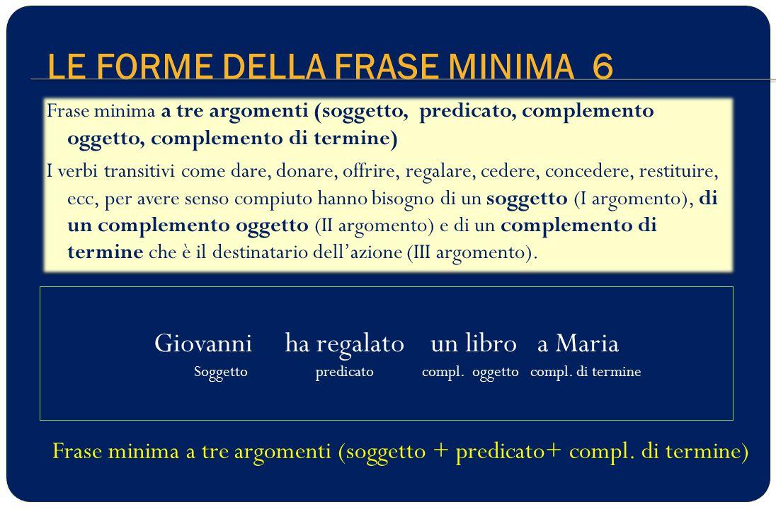 LE FORME DELLA FRASE MINIMA 6