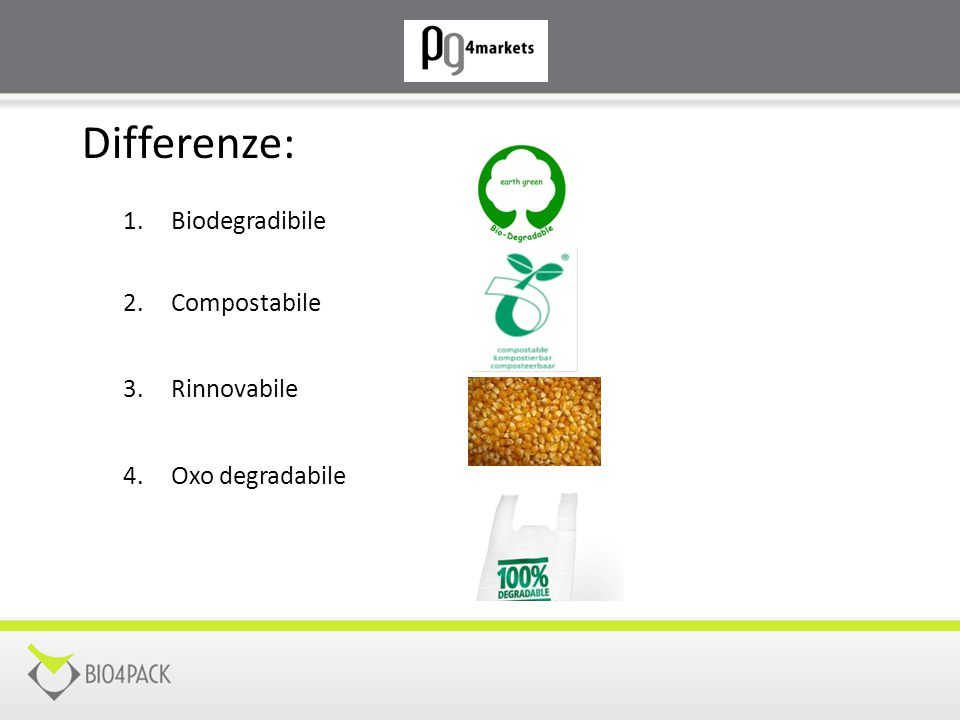 Differenze: Biodegradibile Compostabile Rinnovabile Oxo degradabile
