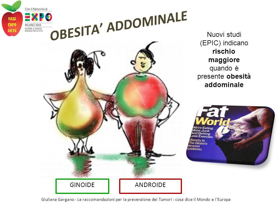 OBESITA' ADDOMINALE Nuovi studi (EPIC) indicano rischio maggiore quando è presente obesità addominale.
