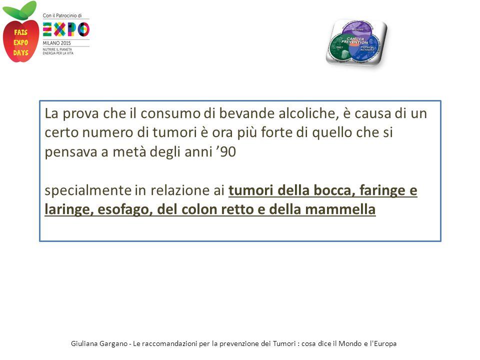 La prova che il consumo di bevande alcoliche, è causa di un certo numero di tumori è ora più forte di quello che si pensava a metà degli anni '90