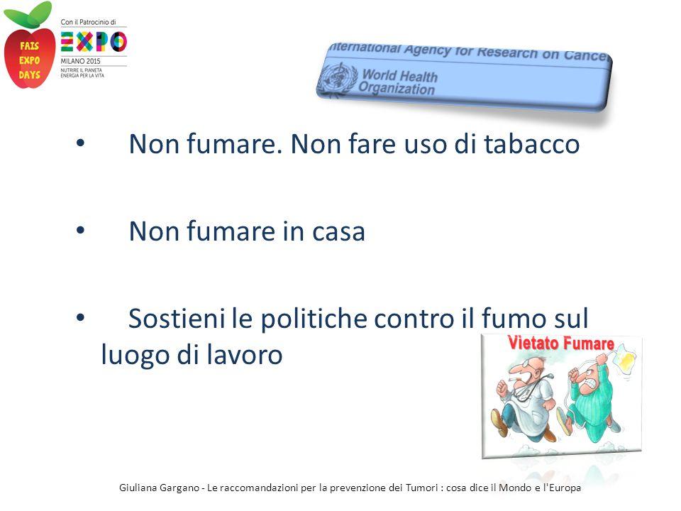 Non fumare. Non fare uso di tabacco Non fumare in casa