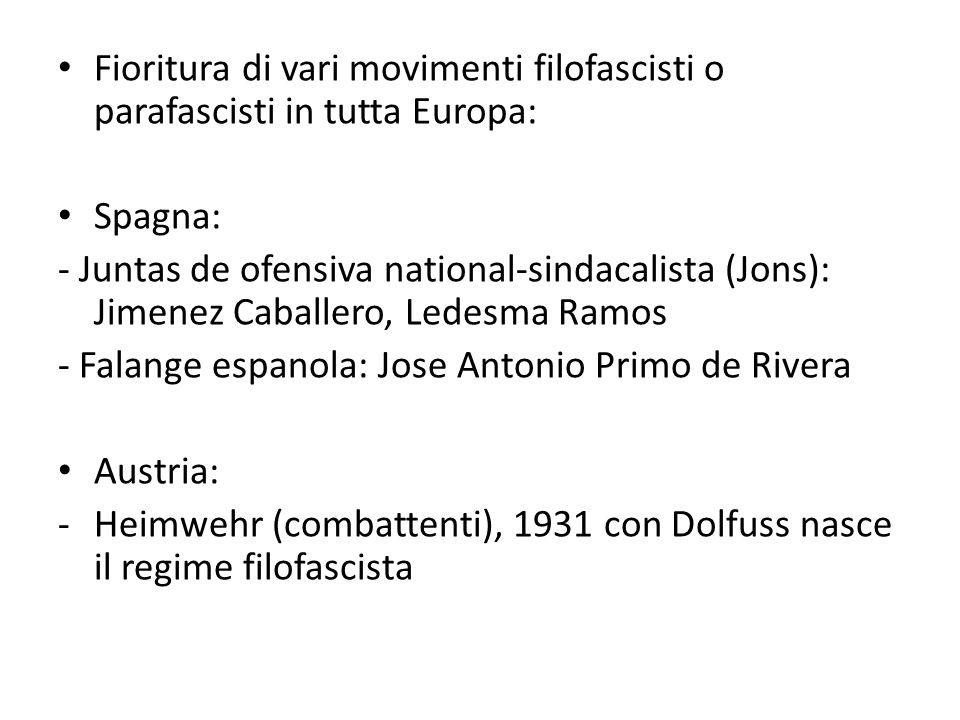 Fioritura di vari movimenti filofascisti o parafascisti in tutta Europa: