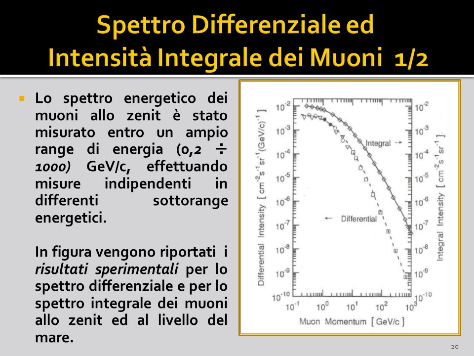 Spettro Differenziale ed Intensità Integrale dei Muoni 1/2