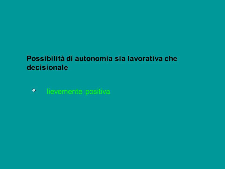 Possibilità di autonomia sia lavorativa che decisionale
