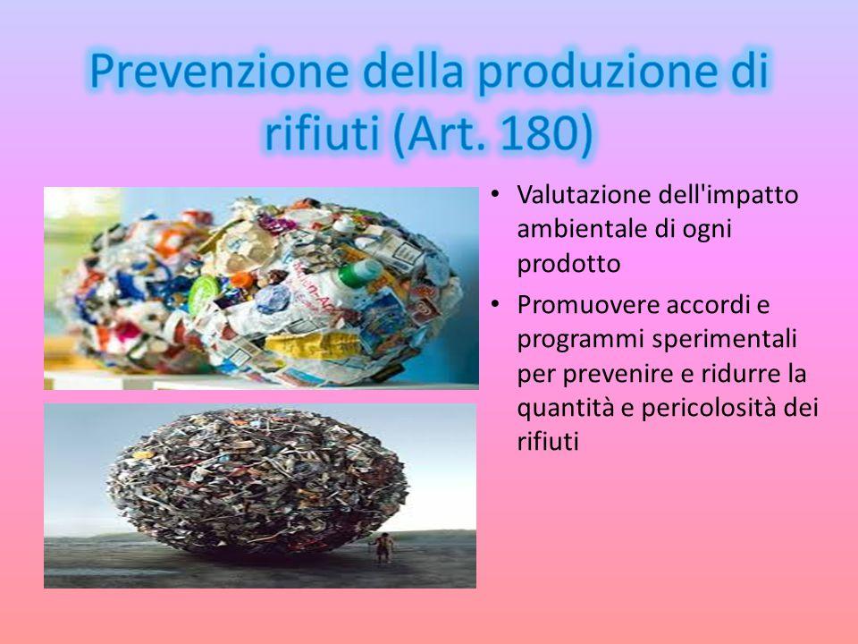 Prevenzione della produzione di rifiuti (Art. 180)